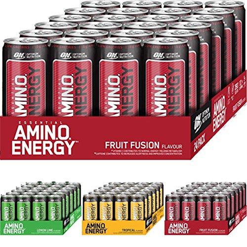 Optimum Nutrition Amino Energy Drink Aminosäure Muskelaufbau BCAA Drink 24x330ml (Tropical Punch)