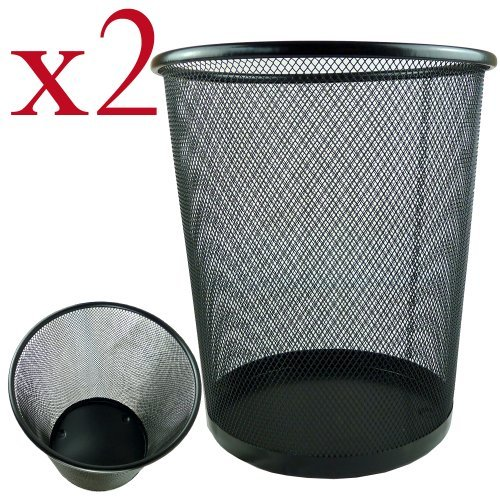 2 x Lightweight and Sturdy Circular Mesh Waste Bin (Black) Test