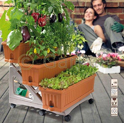 Blumentreppe 3 Stufen Rollen Pflanz Balkon Terrasse Blumen Kasten Ständer Bank -