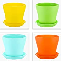 Kraft Seeds Gate Garden! Flower Pots 4 Pcs Round Shape 6 inch, 15cm Open Top Diameter Colourful Plastic Flower Pots for…