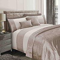 Sienna Glitter Velvet Duvet Cover with Pillowcase Sparkle Bling Bedding Set - Champagne Gold, Double
