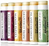 Art Naturals 100% Natural Lip Balm Bees Wax–6Pack Assorted Flavors 0.15oz each–Best Chapstick for Dry, chapped & Cracked Lips–Lip Repair & Therapy with Aloe Vera, Coconut, Castor & Jojoba Oil