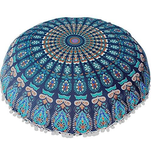 SUCES Große Mandala Boden Kissen Runde Bohemian Kissenbezug Bedrucken Dekorative Verschiedene Muster Kissenhülle Haushalt Wohnen Heimtextilien Bettwaren Bettwäsch(Blau,80 * 80cm)