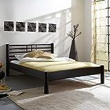 Pharao24 Jugendbett in Schwarz Eisen Breite 135 cm Tiefe 215 cm Liegefläche 120x200 Stütz-Steg