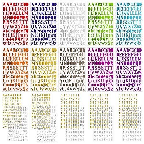 Meetory 20 Blatt Alphabet-Buchstaben-Aufkleber, 2 Stil Briefe, Geschenk, selbstklebende Aufkleber, bunt für Bastelarbeiten, Scrapbooking und Bastelarbeiten -