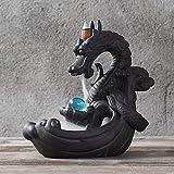 AYES - Porta incenso in porcellana con perline di vetro di drago, decorazione per la casa, con 10 coni di incenso a riflusso