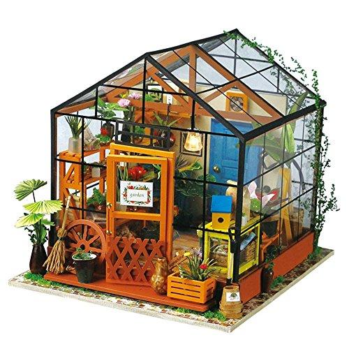 MSK Puppenhaus Treibhaus Modellierung DIY-Set Gartenhaus Holz-Werkzeugtasche Handgefertigte Gewächshaus Puppe House Spielzeug Dekoration Für Mädchen Und Jungen Geeignet