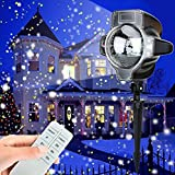 Brinny Projektor Lampe Schneeflocke Projektor Licht Schneefall Lichteffekt Strahler mit Fernbedienung Wasserdicht Bühnenbeleuchtung Romantische Dekoration für Weihnachten Party