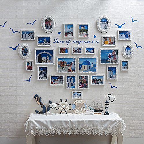 Massivholz Foto an der Wand im Wohnzimmer im Europäischen Stil bed Frame combo Wand 26 Mittelmeer heart-shaped Box. (Karton-heart Shaped Box)