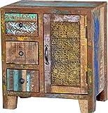 Guru-Shop Kommode mit 3 Schubfächern Vintage-Design, Mangoholz, 60x55x35 cm, Kommoden & Sideboards