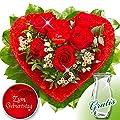 Rosenherz Zum Geburtstag mit Vase von FloraPrima - Du und dein Garten