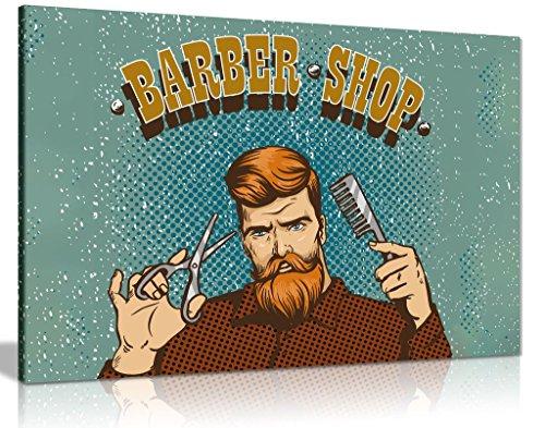 Hipster Barber Shop Schild Bild auf Leinwand print, A4 31x20cm (12x8in) (Wandbild 12x8)