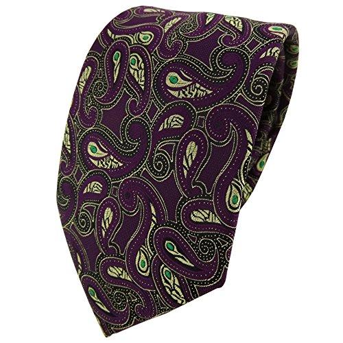 TigerTie Designer Krawatte in lila gold grün schwarz Paisley gemustert