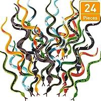 Serpientes Falsos de Plástico Serpiente de Selva Tropical Serpiente de Goma Realista Colorido para Niños y Niñas Decoración de Fiesta Juguetes de Mordaza Broma y Prop (24 Pieces)