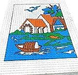 #3: Easy Beginner and Starter River Scenery Poster Cross Stitch Kit