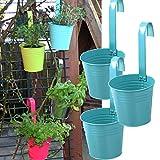 3er Set Hängetöpfe Zink Balkon Blumentopf hängend Balkontopf Pflanztopf zum hängen aus Metall in verschiedenen Sommerfarben (3 x blau/türkis)