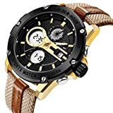 Herren Sport Analog Digital Uhren Outdoor Wasserdicht Big Gold straffen Fall Militär Braun Leder und Nylon-Riemen Armbanduhr