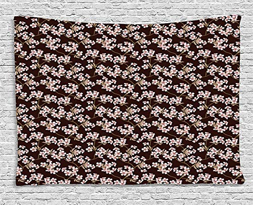 Rose Garden Bar Table (VTXWL Cherry Blossom Tapestry, Japanese Culture Garden Trees with Flowering Branches Retro, Wall Hanging for Bedroom Living Room Dorm, 80 W X 60 L Inches, Chesnut Brown Coffee Rose)