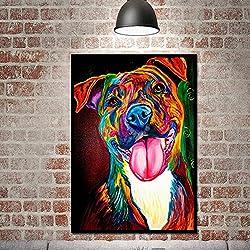 Gemini_mall Peinture à l'huile peinte à la main coloré Chien sur toile sans cadre moderne Pop sur toile murale d'art photos Décoration de maison, chien, 30*45cm