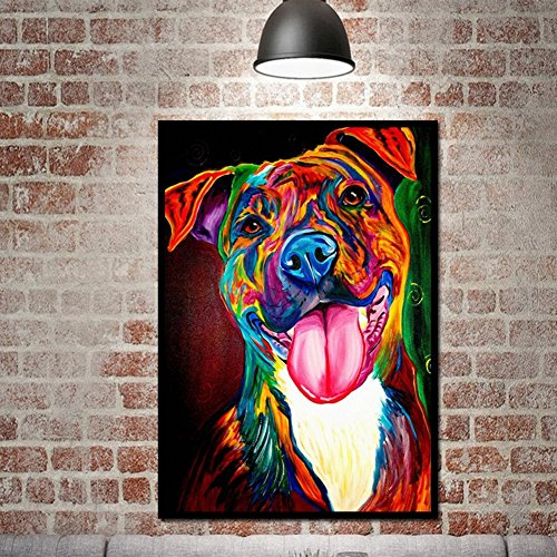 Gemini _ Mall® handbemalt Ölgemälde Colorful Dog auf Leinwand rahmenlose moderne Pop Canvas Wall Art Print Bilder Home Decor, hund, 30*45cm