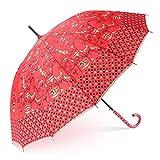 Paraguas rojo de la boda Sombrillas nupciales palo Mango largo recto lluvia soleado Para hombres/mujeres (Color : Style2)