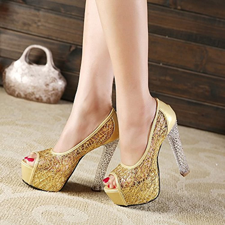 CXY Sandalias de Verano Femeninas con Tacones Altos de Cristal Pescado Bozal Hilado Neto Zapatos de Señoras,Oro,36