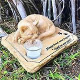 Aveena Gedenkstein für Katzen, mit schlafender Katze auf der Oberseite, personalisierte Gedenksteine, Gartensteine