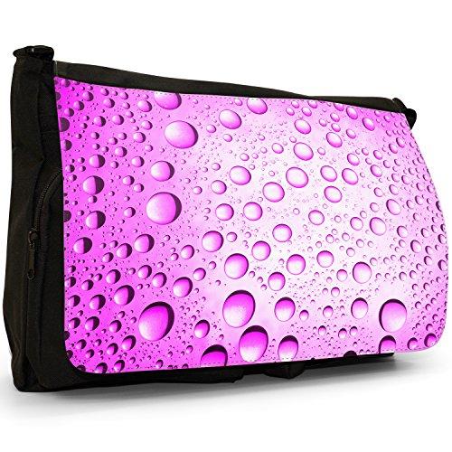 Multicolore a gocce d'acqua, colore: nero, Borsa Messenger-Borsa a tracolla in tela, borsa per Laptop, scuola Nero (Pink Water Droplets)