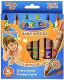 Carioca 42084 - Baby Woody Confezione 6 Pastelli a Cera con Corpo in Legno, Mina Morbida, 0.8 mm