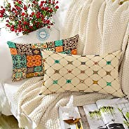 STITCHNEST Ethnic Square Printed Canvas Cotton Rectangular Cushion Cover Set of 2 (12 x 18 Inches)