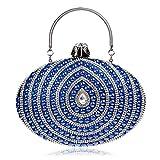 HSDDA Bolso de Noche Bolso de Fiesta de Noche elipse Bolso de Mano para Mujer Bolso de Fiesta (Color : Azul)