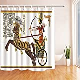 Impresión Digital 3D reina egipcia sobre el caballo de tiro con arco de la cortina de ducha Tejido de poliéster impermeable resistente al moho baño decoraciones cortinas de baño incluye ganchos de 71x71 cm