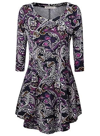 BAISHENGGT Women's Paisley Print V Neck Tunic 3/4 Sleeve Flared
