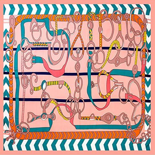 BVCGDFAS Seidenschal Damen Print Tüll Stirnband Schals Halstücher Wraps2019 Frühjahr Neu Seidenschal Damen Zebra Gürtel 130Cm Twill Seide Großdruck Quadrat Schal Zebra Gürtel 130Cm Pink Twill-zebra-print