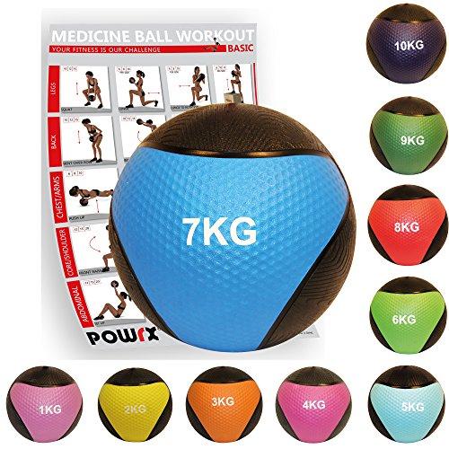 POWRX - Balón Medicinal 7 kg + PDF Workout BLU