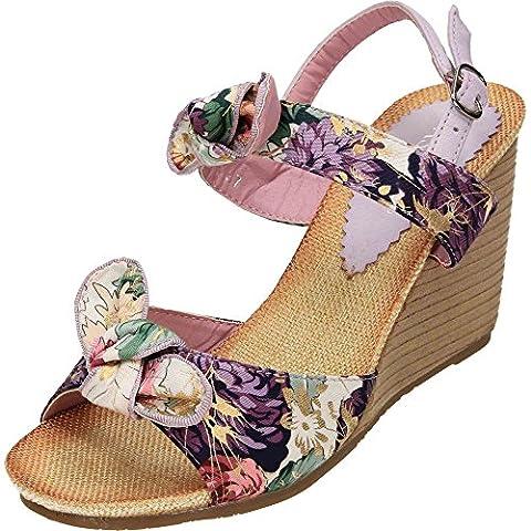 JWF Slingback Wedge Heel Floral Satin Open Toe Sandals Purple