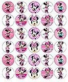 30 topper per cupcake in carta di riso commestibile, motivo: Minnie Mouse Disney, per torte di compleanno