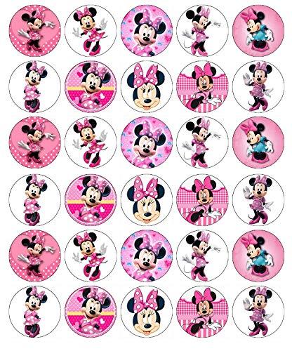 Minnie Mouse Disney Cupcake-Topper, essbares Oblatenpapier, Feenmotiv, 30 Stück