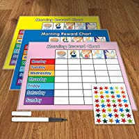 Funky Monkey House Set of 3 Morning Reward Charts (including FREE Star Stickers and Pen)