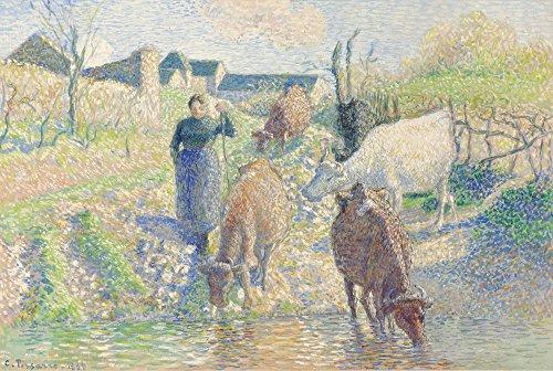 Das Museum Outlet–Die Kühe Bewässerung, Osny, 1886, gespannte Leinwand Galerie verpackt. 40,6x 50,8cm (Metall-kuh-wand-kunst)