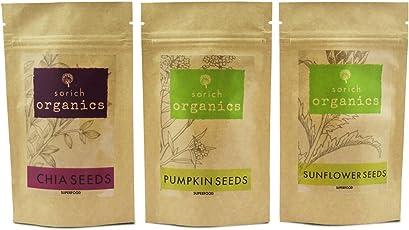 SorichOrganics Pumpkin, Sunflower and Chia Seeds - 600 Gm (3 x 200 Gm)