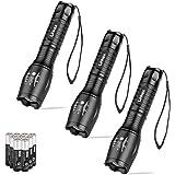 Linkax Linterna LED Alta Potencia [3 Paquete] Linternas Antorcha Linterna de Mano 800 LM Flashlight LED de 5 Modos para Cicli