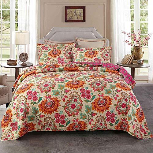 Unimall 3 TLG. Premium Tagesdecke Baumwolle 230 x250 cm Bettüberwurf Doppelbett Sofa Überwurf mit Schick Paisley Sonnenblume Muster -