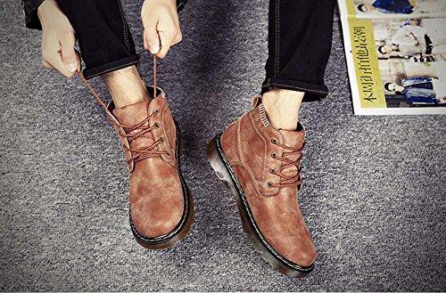 Onfly Pompa Dottor Martens Martin Boots Uomini Inverno Tenere caldo Colore puro Anti scivolo Lacci delle scarpe Britannico Stivali da neve Stivali Desert Dimensioni Eu 38-44 Brown