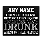 "PERSONALISED Licensed to get you drunk Pub sign Metal Sign 10x8"" 123 Gift Idea Birthday Christmas Dad Son Funny Bar"