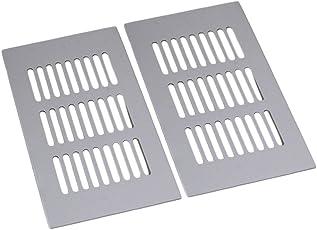 Yibuy 2x quadratisch Aluminium Atmungsaktiv Belüftung Brücke Teller Lüftungsgitter 150mm