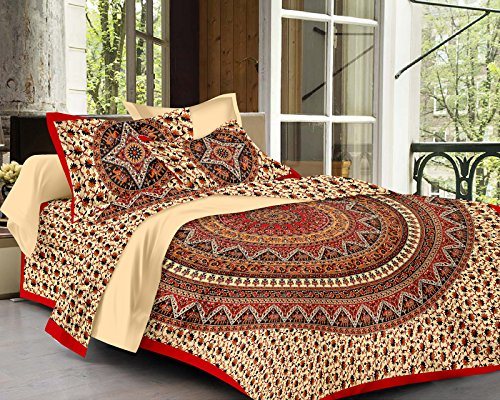 SheetKart Traditional Hand Block Mandala Printed 144 TC Cotton Double Bedsheet with...