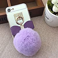 Mirror Case for iPhone X 5.8 inch.Girlyard Crystal Soft TPU Rubber Bumper +Bling Diamond Glitter Cute Hairy Hairball 3D Fluff Bowknot Keychain PC Makeup Mirror Back Cover with Finger Ring Holder-Purple