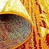 Tappeto a pelo corto con motivo moderno a righe e sfumature di colore arancione, giallo, rosso e bianco, Polipropilene, Orange, 120/160 cm