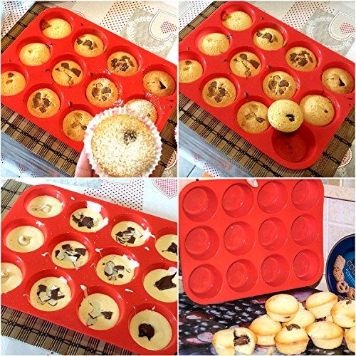 Philonext molde de silicona para magdalenas muffins molde de silicona rojo para pasteles - Silicona para microondas ...